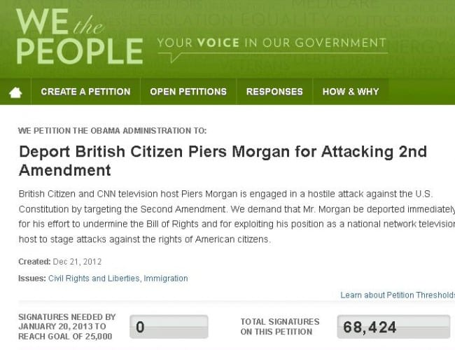 Piers Morgan Deportation Petition Reaches 68,000 Signatures, White House Must Respond