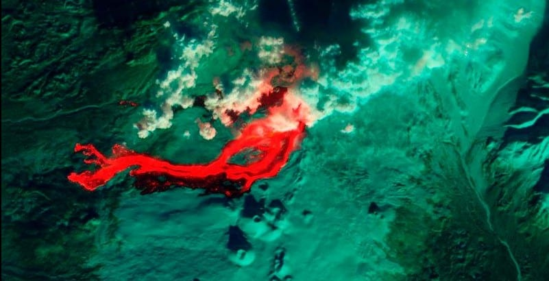 Satellite Captures Russian Lava Eruption From Space
