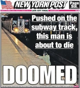 Doomed New York Post Criticised Over Subway Death Front Page