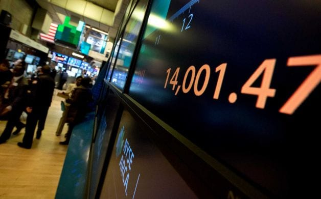 Dow Ends Above 14,000 For 1st Time Since Oct 2007