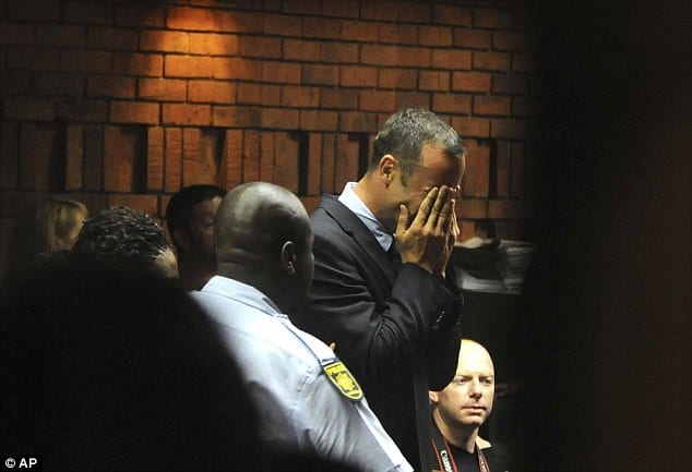 Emotional Pistorius In Court Charged With Murdering His Model Girlfriend 'Was Shot Four Times Through Bathroom Door' At His Home