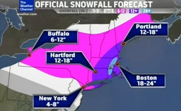 record snowfall heading towards the east coast