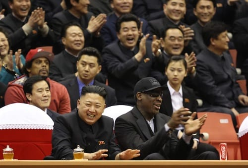North Korean Leader Kim Jong And Dennis Rodman Watch Basketball Game