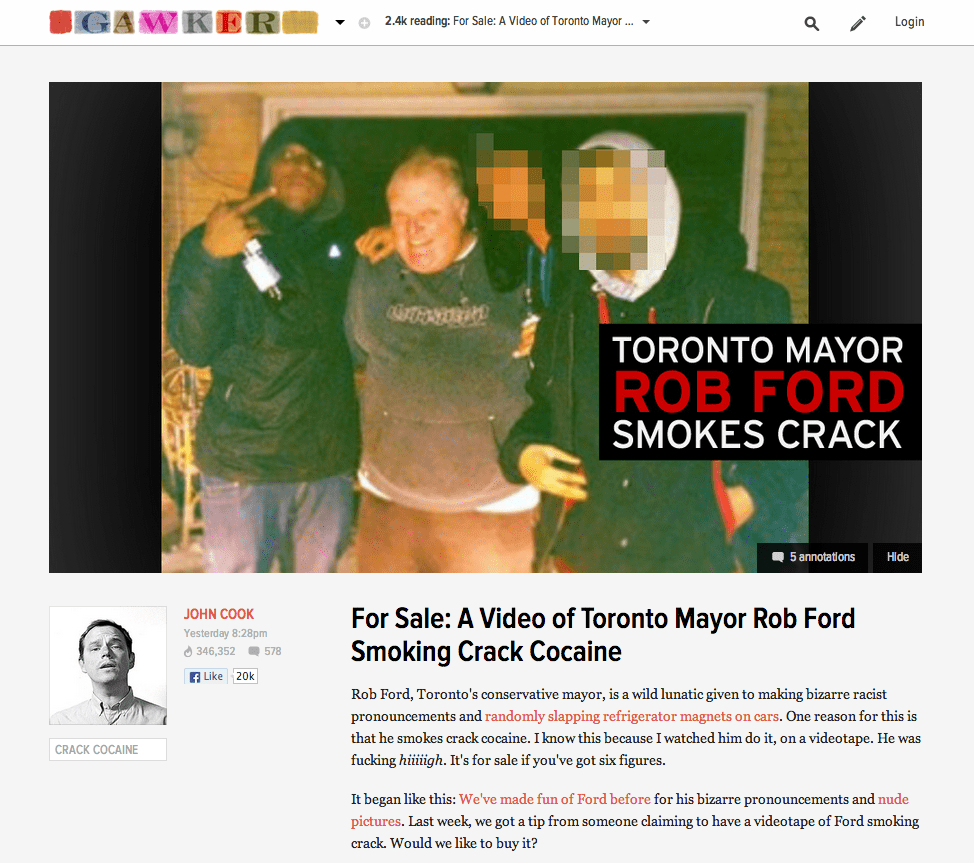Gawker claims to have seen video of Rob Ford using crack cocaine pipe