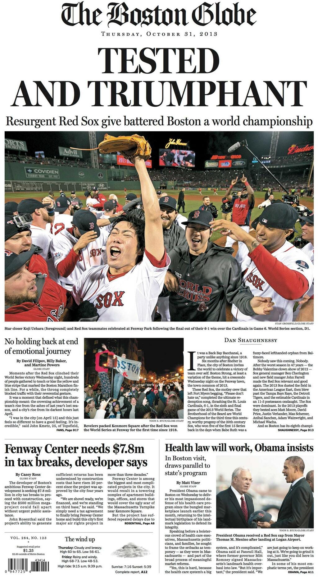 The Boston Globe front page after Red Sox win