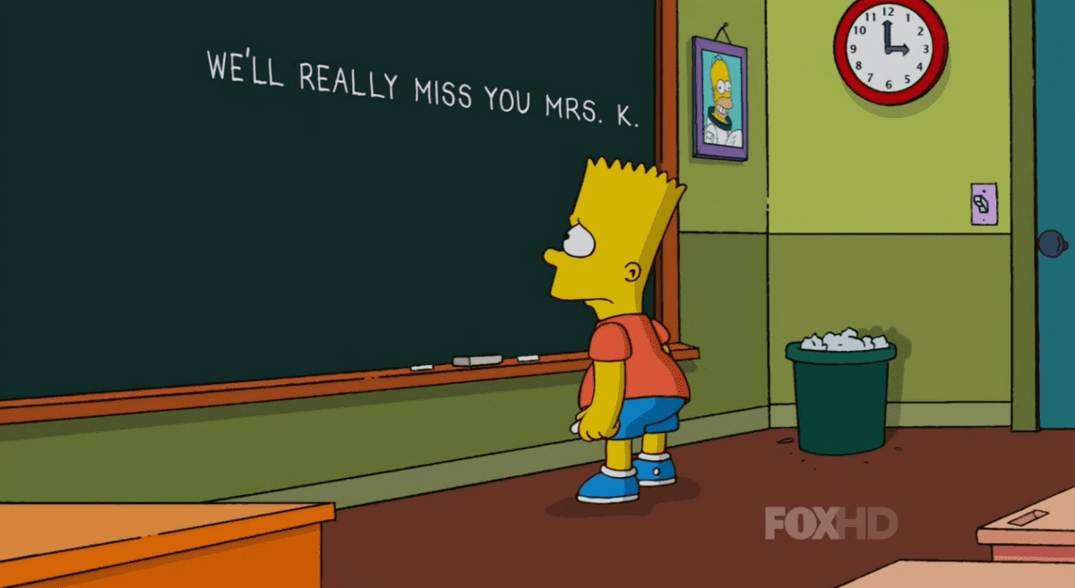 Bart Simpson and Mrs. Krabappel didn't always get along, but the troublemaking Simpson sure will miss her