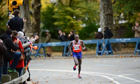 Kenya's Geoffrey Mutai wins N.Y.C. Marathon for third time as record 50,740 turn up for race