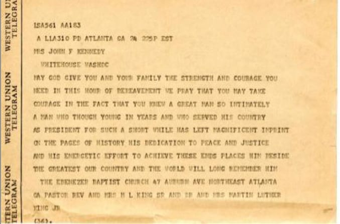 JFK MLK Western Union Telegram