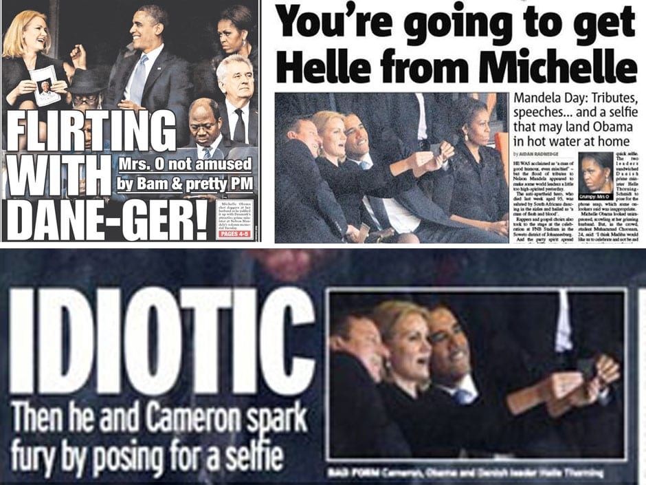 'No selfie respect'- Tabloids descend on Obama as photographer says memorial picture 'lied'