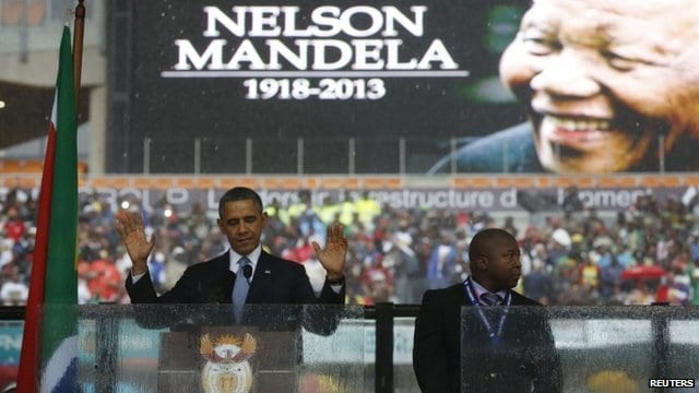 "The national director of the Deaf Federation of South Africa says a man who provided sign language interpretation on stage for Nelson Mandela's memorial service, attended by scores of heads of state, was a ""fake."" Asked about the claim by The Associated Press, South Africa's government said it is preparing a statement.  Bruno Druchen says the unidentified man seen around the world on television next to leaders like U.S. President Barack Obama ""was moving his hands around but there was no meaning in what he used his hands for."""