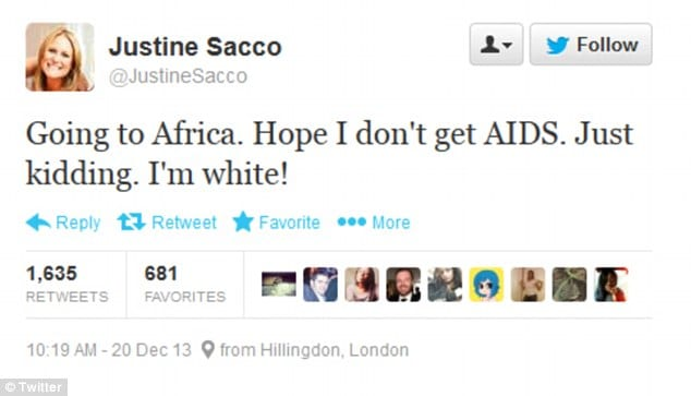'Going to Africa. Hope I don't get AIDS. Just kidding. I'm white!'- Blonde PR Justine Sacco executive's racist tweet causes outrage on social media... as her bosses react with fury