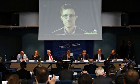 Edward Snowden speaks via video link with members of the Council of Europe, in Strasbourg.