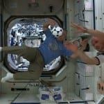NASA space station crew members celebrate the World Cup