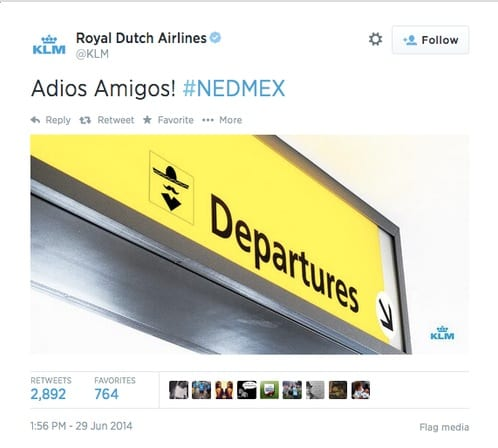 KLM deletes controversial World Cup tweet