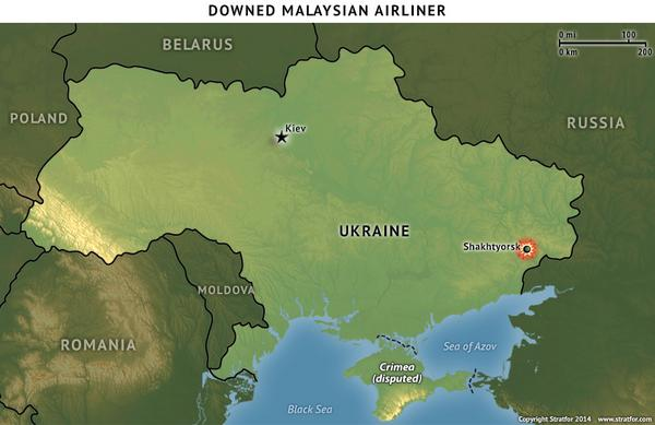 Map where Malaysian Airline went down