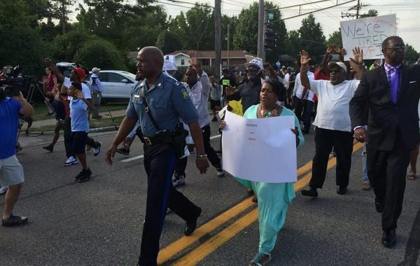 Highway Patrol Leads Ferguson Marchers