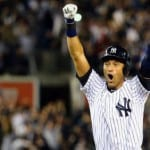 Derek Jeter takes field in final home game