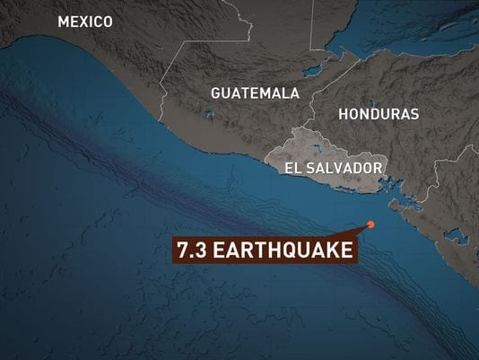7.4-magnitude earthquake strikes off coast of El Salvador