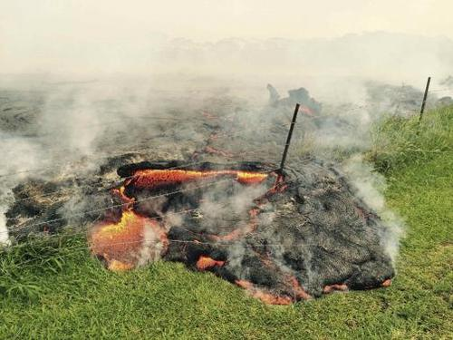 The lava flow from the Kilauea Volcano is seen advancing across a pasture near the village of Pahoa, Hawaii