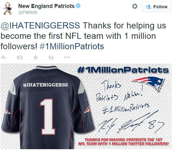 patriots racist tweet