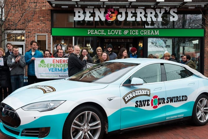 BennJerrys Give Free Ice Cream And Combat Climate Change From Tesla Car