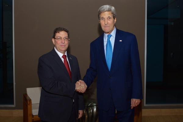 Secretary of State John Kerry Shakes Hands with Cuba