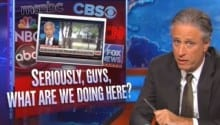 Stewart Skewers Media over Chasing Hillary's Van What Are We Doing Here, People