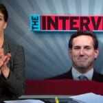 Rick Santorum Republican candidate for president talks with Rachel Maddow