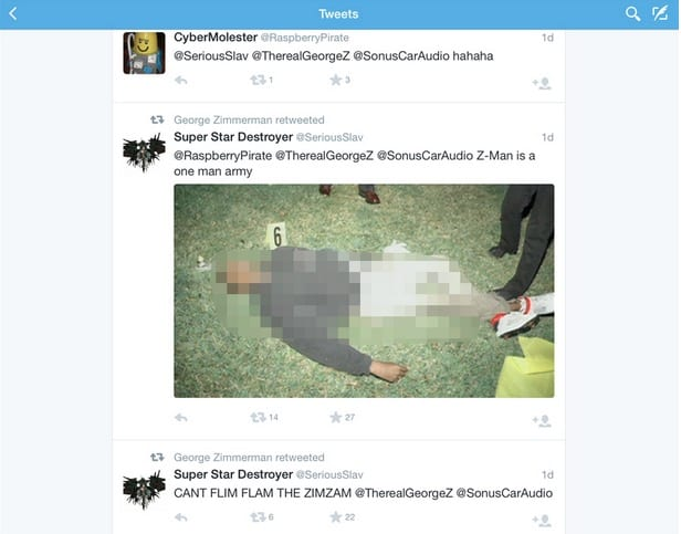 George Zimmerman retweets photo of Trayvon Martin's body posted