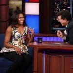 Watch First Lady Michelle Obama At Colbert's Show VIDEO