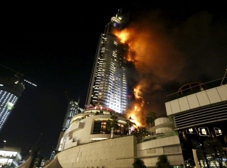 A fire engulfed The Address Hotel in downtown Dubai in the United Arab Emirates