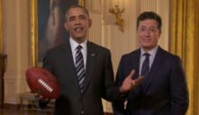 Obama Joins Stephen Colbert In Super Bowl edition of The Late Show
