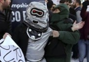 Rubio Mob Attacks Protesters Dressed As Robots [VIDEO]