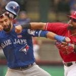 Bautista Punched in Rangers-Jays Brawl [VIDEO