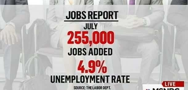 Jobs ReportU.S. Adds 255K Jobs in July