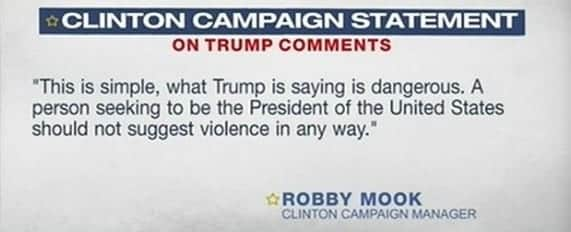 clinton campaign statement on Trump 2nd amendment comments