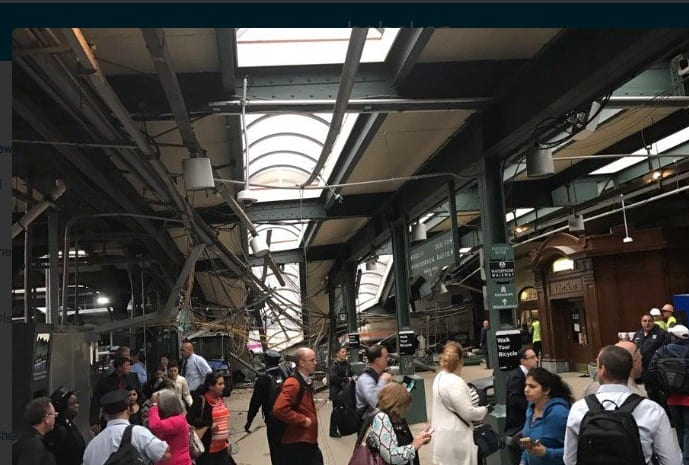 Train Hits Station In Hoboken, New Jersey