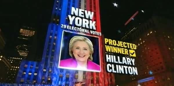 Hillary Clinton wins New York, jumping to 97 electoral votes