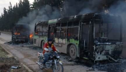 Evacuation buses torched