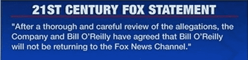 bill orielly out at fox statement