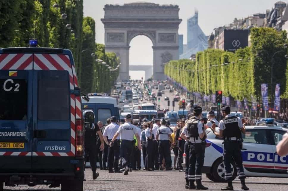 CarRams Police Van On Champs Elysees Armed Suspect May Be Dead