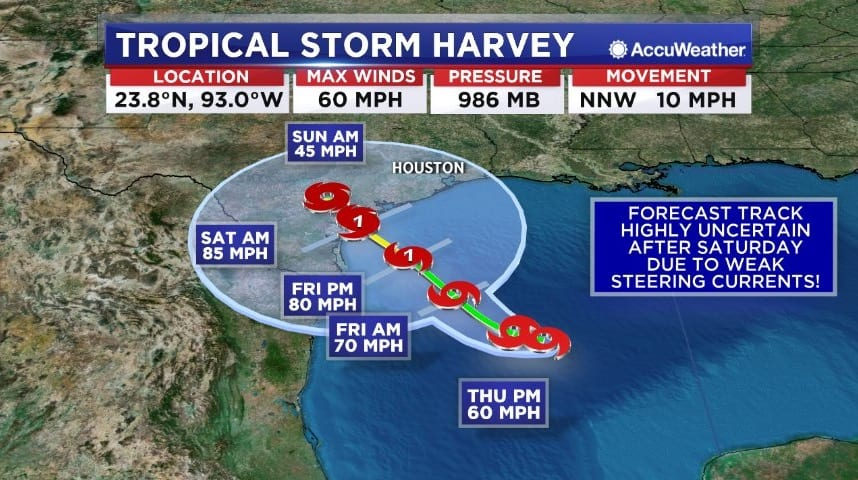 Tropical Storm Harvey Strengthens As It Approaches