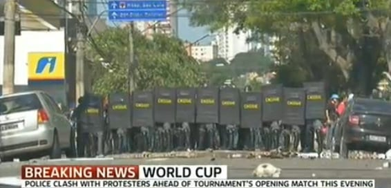 world cup protests police clash with  protesters