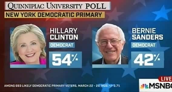 New Poll Clinton 54 Sanders 42
